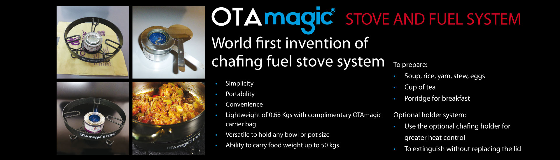 Chafing stove, fuel & holder